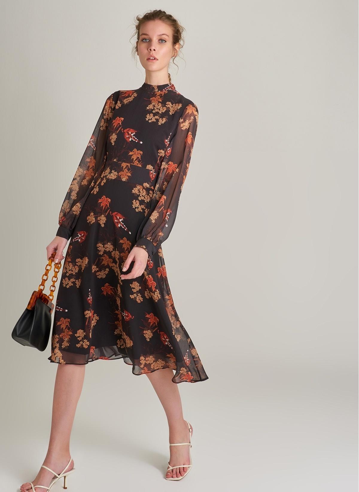 e944e2f02a89e Ng Style Kadın Çiçek Desenli Sırt Detaylı Elbise Siyah Desenli ...